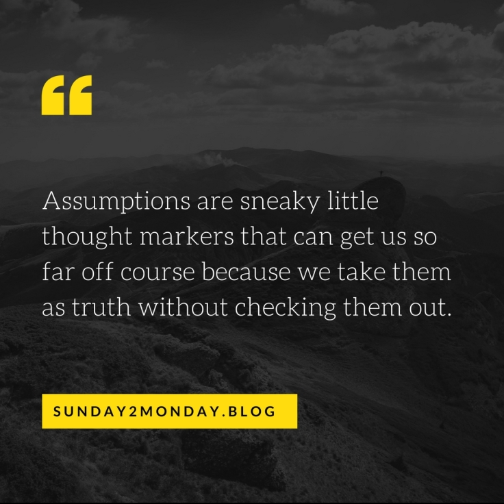 Assumptions are sneaky little thought markers that can get us so far off course because we take them as truth without checking them out.
